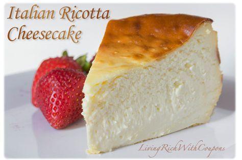Italian Ricotta Cheesecake Recipe - http://www.livingrichwithcoupons.com/2014/04/italian-ricotta-cheesecake-recipe.html