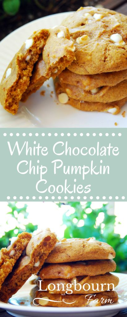 These white chocolate chip pumpkin cookies are light, fluffy, and soft. Perfect for Fall, or any time of year! They are also a breeze to whip up, no mixer required!
