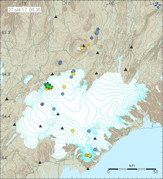 Series of large earthquakes hit Bárðarbunga last night.  The first earthquake of magnitude 3.9 on the richter scale occured at 23:02 last night, followed by a 3.2 earthquake at 23:03. The third quake hit the volcano at 23:26 and measured 4.7. The fourth earthquake of magnitude 4.7 occured 16 minutes past midnight.  27.10. 2017  www.netkaup.is  NCO eCommerce, IoT  www.nco.is