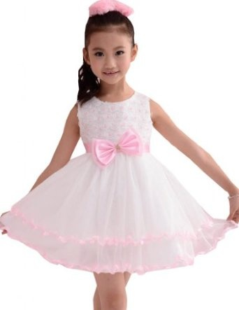 White Wedding Girls Dress Pink Pleated Layers Boutique