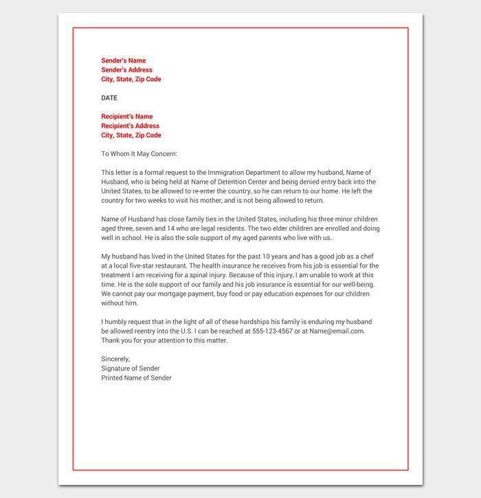 hardship letter for immigration  word doc