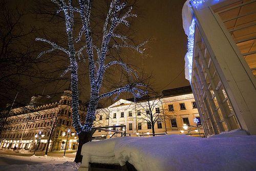 Snowy Esplanade Park in Helsinki, Finland