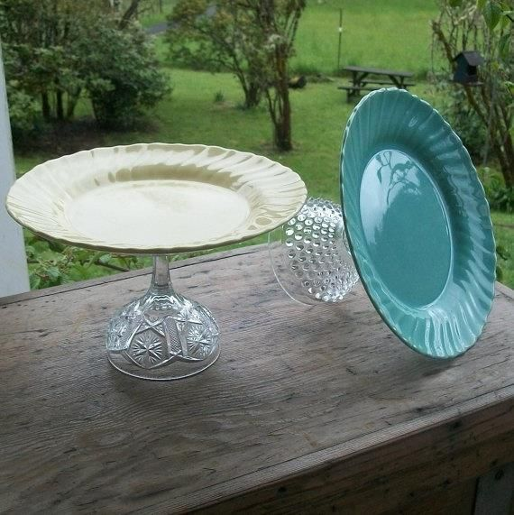 Dollar store DIY cake plate - use GE Premium Silicone Glue to attach  Must DO with inherited / can't let go mix-match plates and goblets of sentimental attachements.