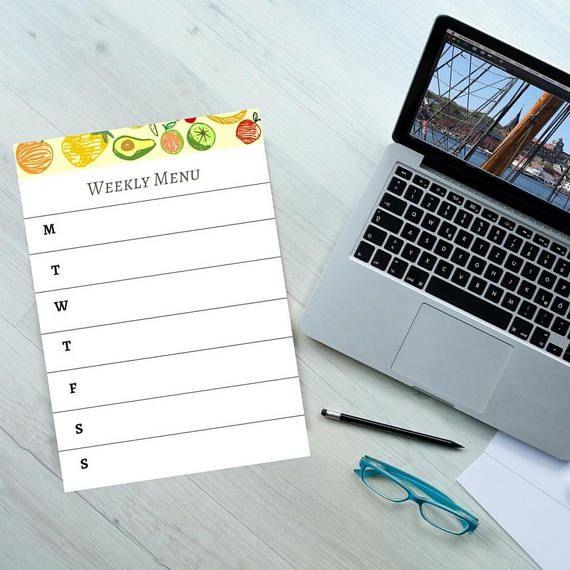 Printable weekly menu planner from etsy  #weeklymeals #weeklymenu #Ptintableplanner www.etsy.com/listing/587932263/a4-pdf-digital-weekly-menu-planner