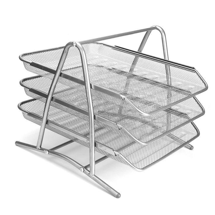 SaveOnMany ® 3-Tier Steel Mesh Office Desk Tray Desktop Organizer Filing File…