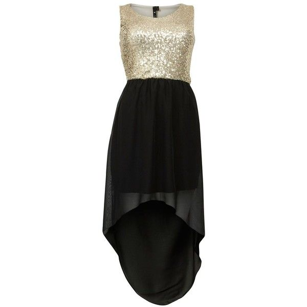 Influence Black and Gold Sequin Dip Hem Dress ($20) ❤ liked on Polyvore featuring dresses, party dresses, graduation party dresses, graduation dresses, hi low party dresses and black and gold dress