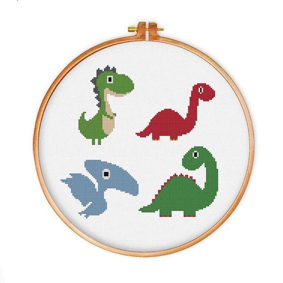 Dinosaurs cross stitch pattern modern cross stitch by ThuHaDesign