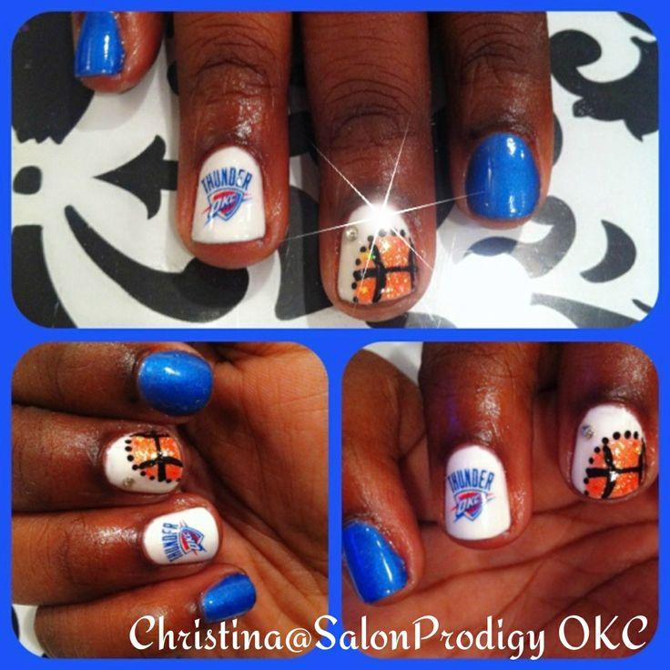 OKC Thunder basketball inspired nail art design | OKC THUNDER