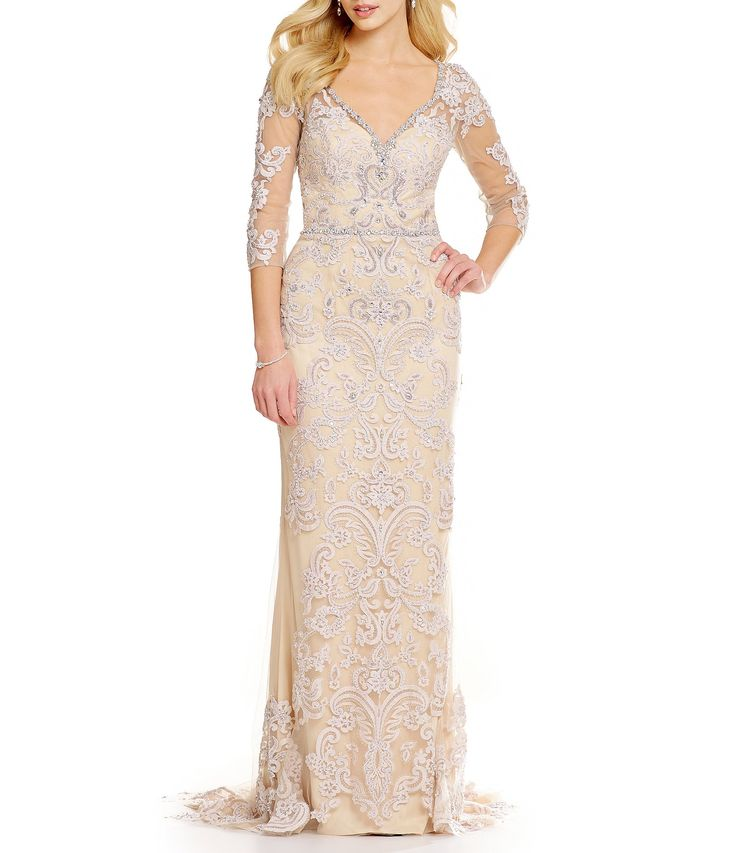 Lasting Moments Beaded Lace Gown #Dillards