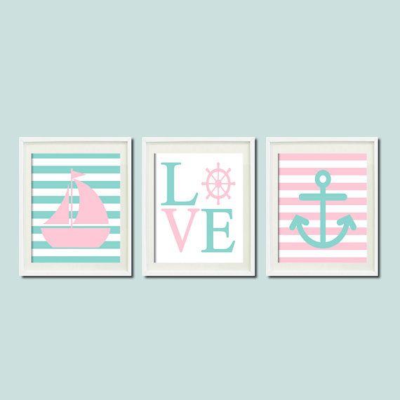 Nautical Pink Aqua Wall Art Sailboat Love Captains Wheel Anchor Set of 3 Prints Girl Boy Nursery Kids Bathroom Bedroom Decor Picture on Etsy, $25.00