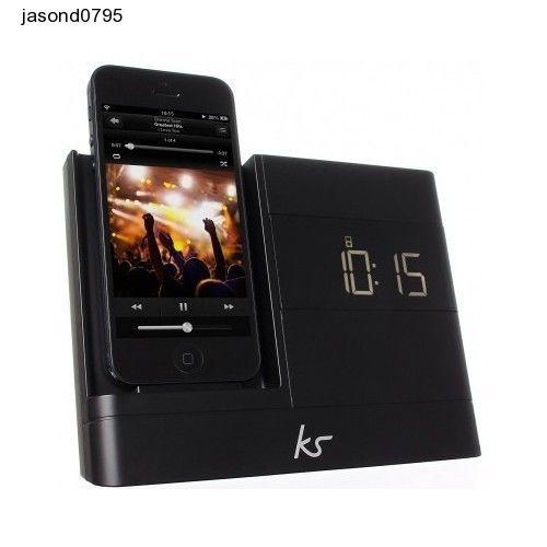 Alarm Clock Black Radio Dock light Charger iPhone 5 5S 5C 6 iPod Nano 7 Sleep