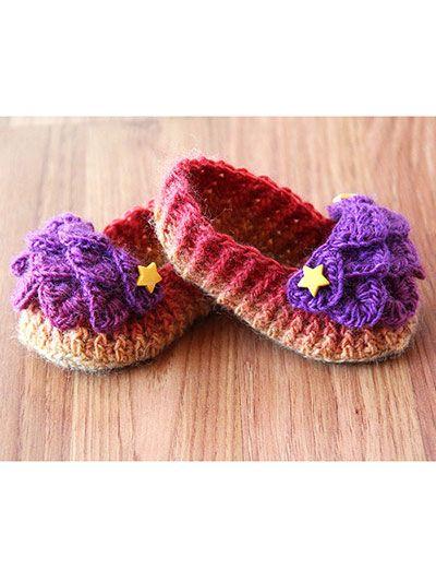 Crochet - Crocodile Stitch Loafers - Baby - #REC0989