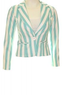 Women Like Fashion Wit / Turquoise gestreepte blazer (Fashion)