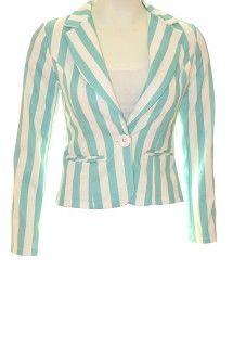 Women Like Fashion Wit / Turquoise gestreepte blazer (Fashion)