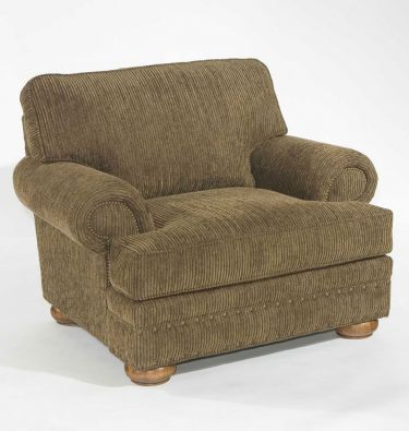 with floral chenille fabric and attic heirloom wood tone -- BROYHILL