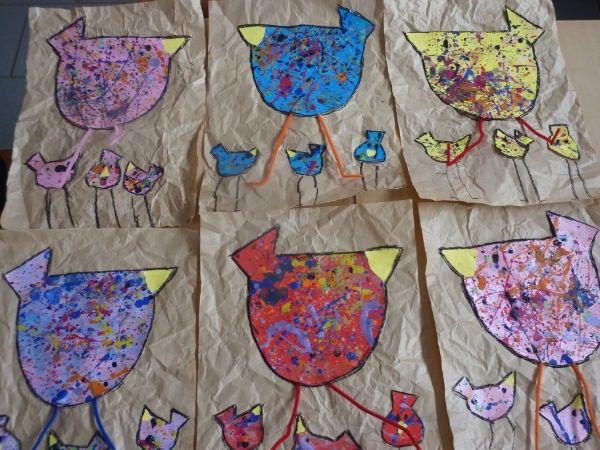 poules sur papier kraft