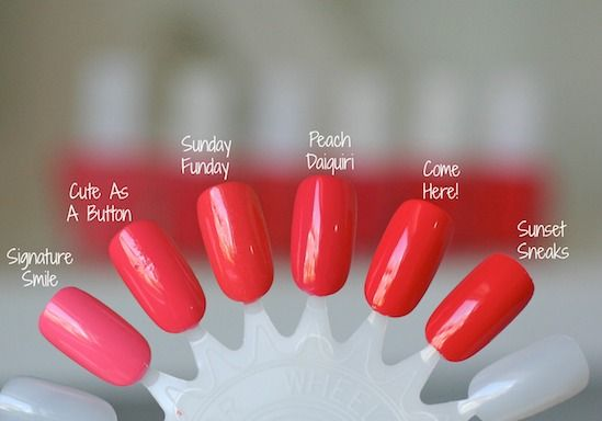 Essie Envy: Essie Pink-Red Coral Comparison : Cute As A Button, Sunday Funday, Peach Daiquiri, Come Here, Sunset Sneaks