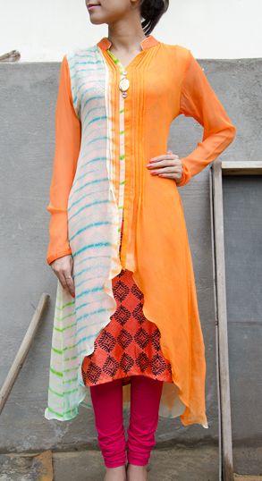 Orange & Off White Chiffon Long Kurti #Vasansi