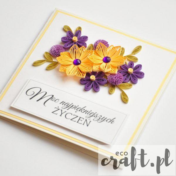 quilling, husking, handmade, DIY, greeting card, paperart, birthdayl, ecocraft.pl