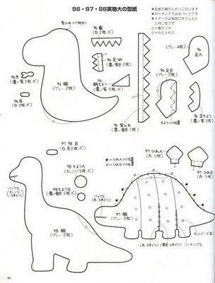 Blog de Goanna: Molde dinosaurios en fieltro