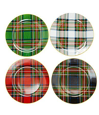Noble Excellence Holiday Plaid Accent Dinnerware from Dillard's. Love these!