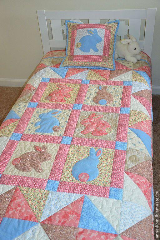 Детское лоскутное одеяло покрывало  + подушка «Зайка моя» - Anna K - Ярмарка Мастеров