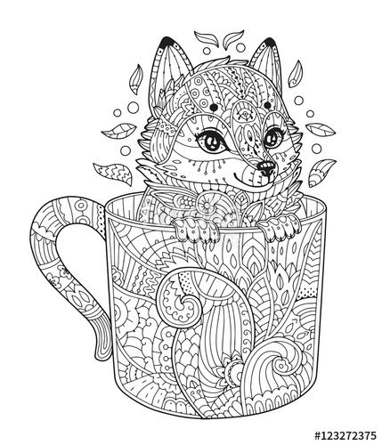 Vector: Fox in cup. Adult antistress coloring page with animal in zentangle style. Vector illustration for T-shirt print, tattoo, logo, floral design elements. Line art. Zendoodle.