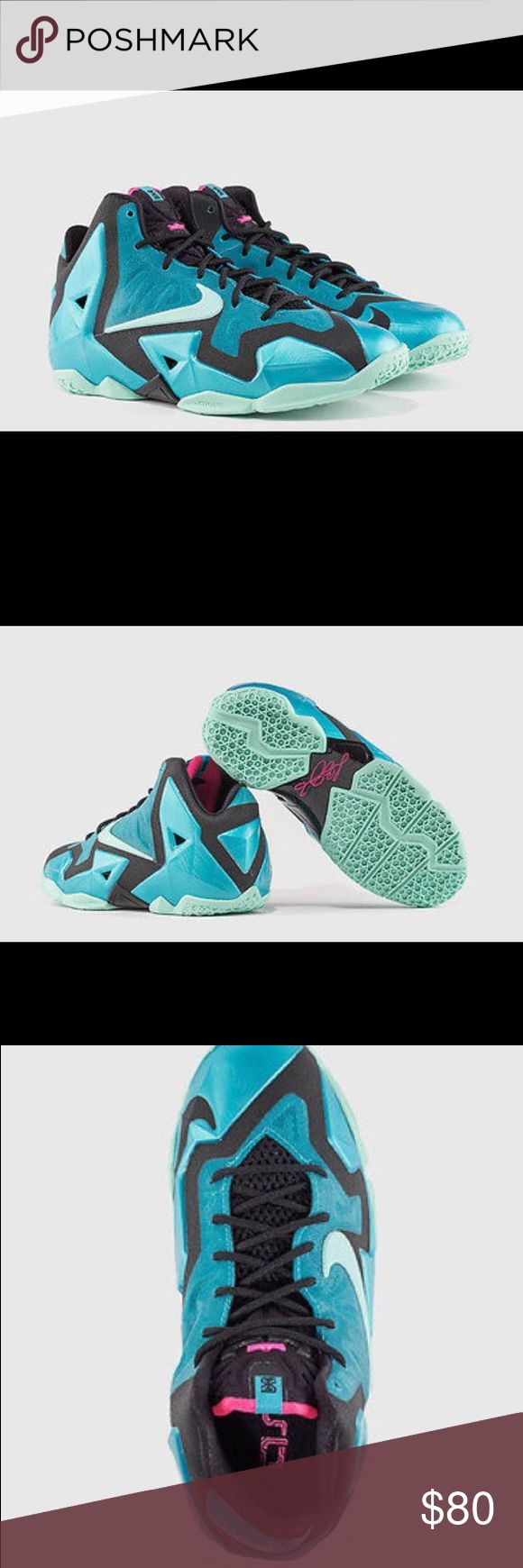 NIKE LEBRON XI SOUTH BEACH YOUTH BASKETBALL SHOES Bought these new. My daughter put them on for her first game and got injured. New/mint condition. No wear or marks.   YOUTH SIZE: 6 Y / WOMEN'S SIZE US 7.5  COLOR:  Sport Turq/Medium Mint-Black  NIKE STYLE: 01/15/14 621712-303 02/18/14  MSRP: $140   The light, strong LeBron XIII Big Kids' Basketball Shoe features a larger-than-ever Nike Zoom Air unit for incredible cushioning and maximum explosiveness, while durable Hyperposite material…