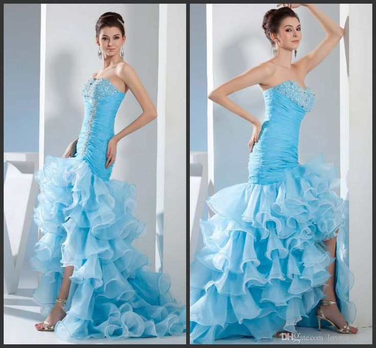 Light Sky Blue Prom Dresses Mermaid High Low Pageant Gown Cheap Lace Up Back Elegant Beadings Sequin Crystals Sparked Tiered Skirt Long Best Prom Dress Childrens Prom Dresses From Lovemydress, $97.05  Dhgate.Com