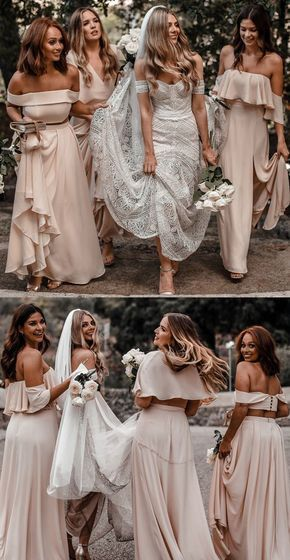 Two Piece Off-the-Shoulder Long Pink Chiffon Bridesmaid Dress Our Email Address:…