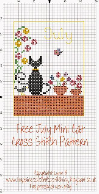 La felicidad es el punto de cruz: Mini Cross Stitch Gato Freebies