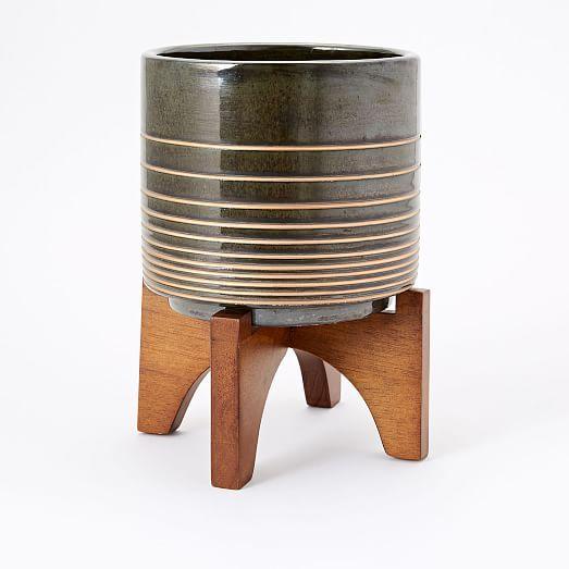 Mid-Century Turned Leg Tabletop Planters - Black/Gold #westelm