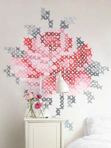 DIY: cross-stitch wall art