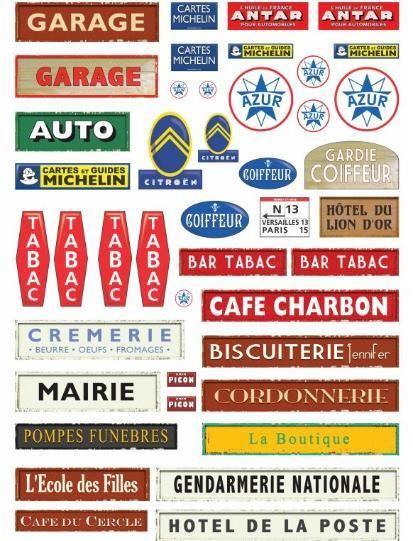 Sinais e publicidade vintage de 50 s