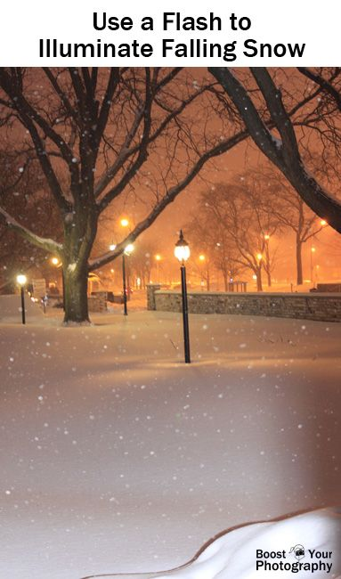 How to Take Better Snow Photographs - use a flash to illuminate falling snow | Boost Your Photography