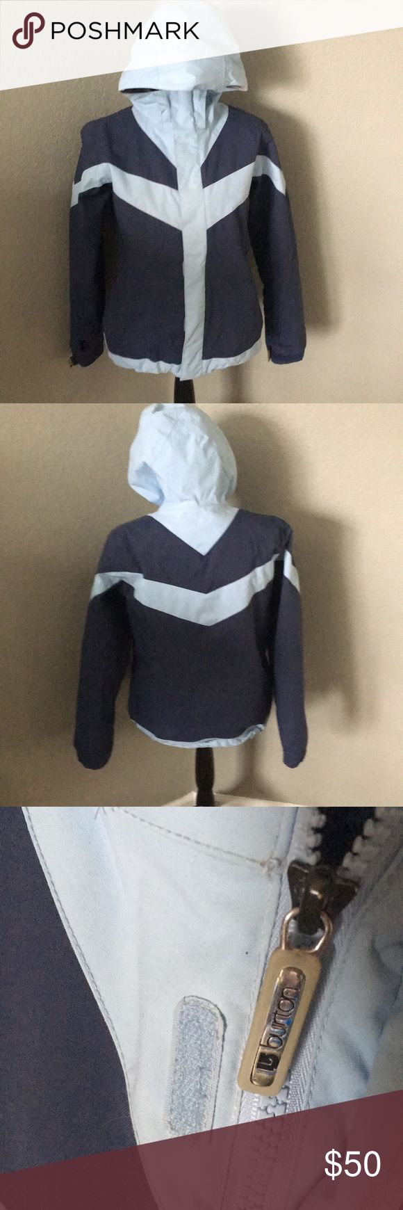 Burton Ski Snowboard Jacket Medium Awesome ski/snowboard jacket in dark and light blue.  Good condition! No holes, rips or stains.  Snap Waist closure to keep upper body warm and dry.  Smoke free home. Burton Jackets & Coats