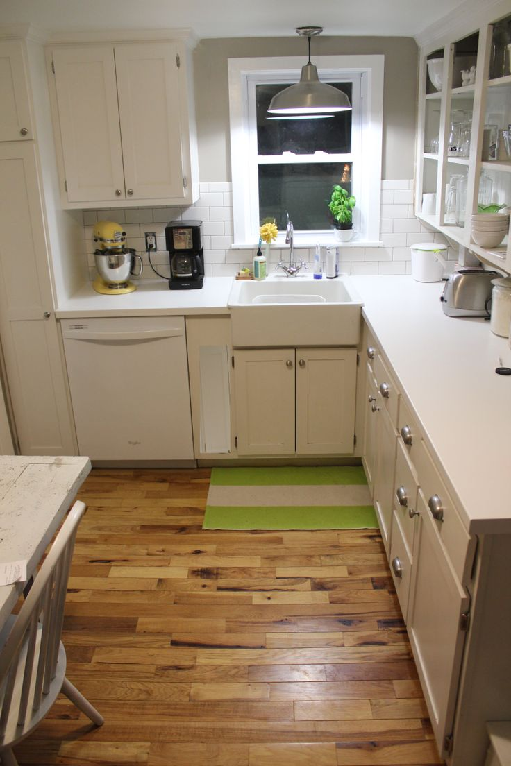 108 square foot kitchen, completely redone. Ikea, pragel countertops, farm sink, tiny, rustic ...