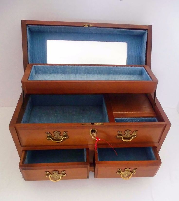 Jewelry Box With Key Lock Vintage style wooden boxes lock jewellery