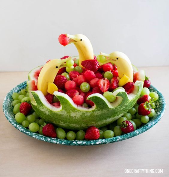Dolphins and Waves Watermelon Fruit Bowl | OneCraftyThing.com