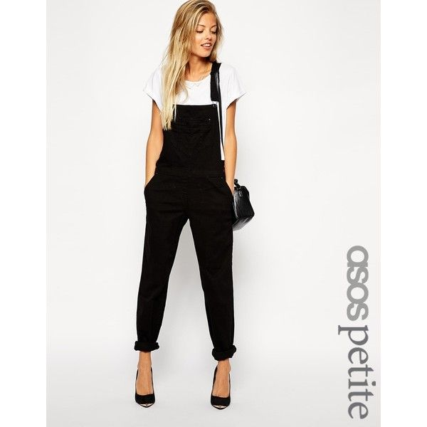 ASOS PETITE 90s Style Dungarees (£43) ❤ liked on Polyvore featuring jumpsuits, black, petite, asos, petite jumpsuit, tall jumpsuits, black jumpsuit and asos jumpsuit
