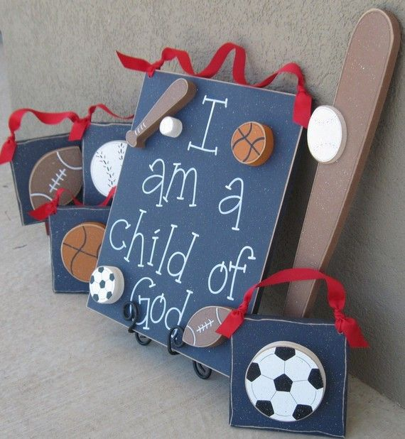 Set of Sports Themed  Boy Decor with a CHILD OF GOD by lisabees, $59.00