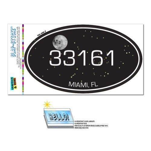 33161 Miami, FL - Night Sky - Oval Zip Code Sticker
