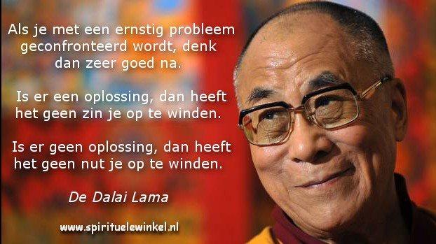 Als je met een ernstig probleem geconfronteerd wordt, denk dan zeer goed na. Is er een oplossing, dan heeft het geen zin je op te winden. Is er geen oplossing, dan heeft het geen nut je op te winden.  ~ De Dalai Lama