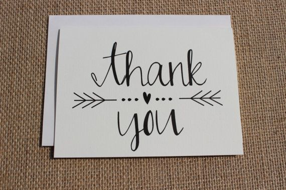 Thank you cards with envelopes wedding shower Thank you in calligraphy writing