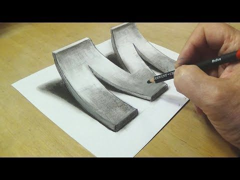 Easy Trick Art Drawing - How to Draw 3D Letter E - Anamorphic Illusion with Charcoal Pencil - YouTube