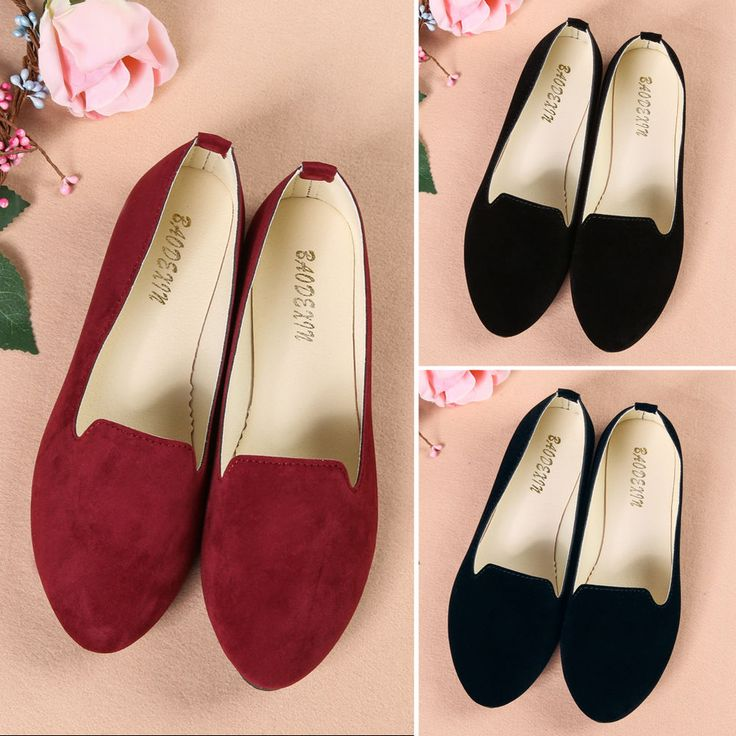 Vintage Ladies Boat Shoes Casual Flat Ballet Slip On Flats Loafers Single Shoes…