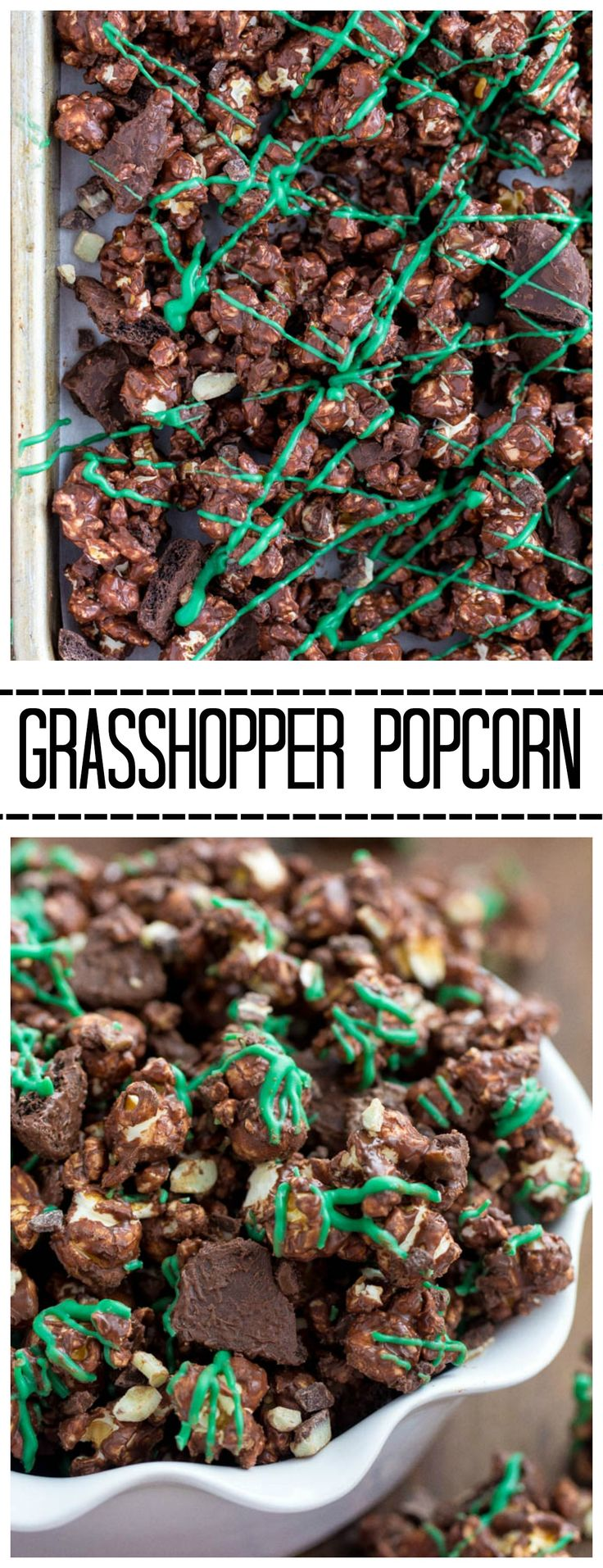 This Grasshopper Popcorn is covered on chocolate and has andes mints and grasshopper cookies hidden inside! It is awesome!