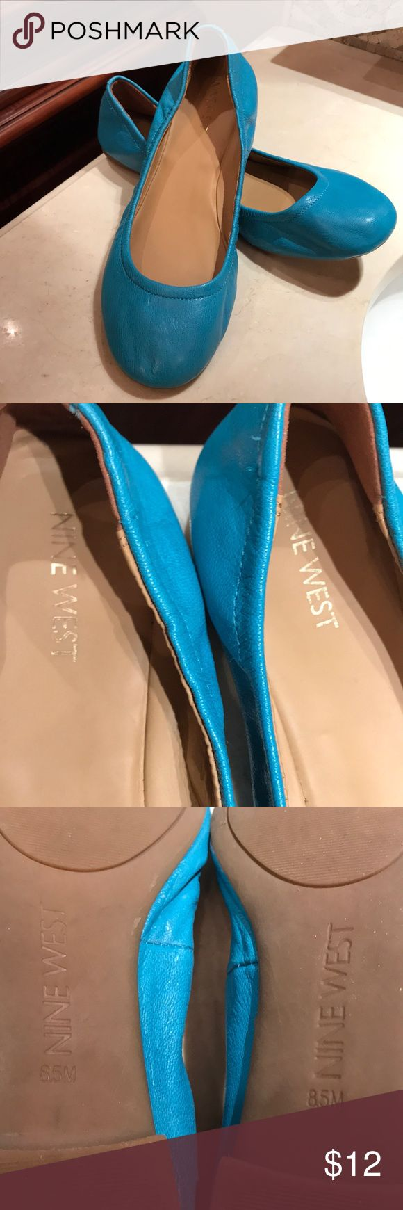 Nine West ballet slip on shoe Women's leather aqua blue ballet slip on shoe. Good condition..worn once..left shoe as depicted in pic small scratch on front of shoe.. Nine West Shoes Flats & Loafers