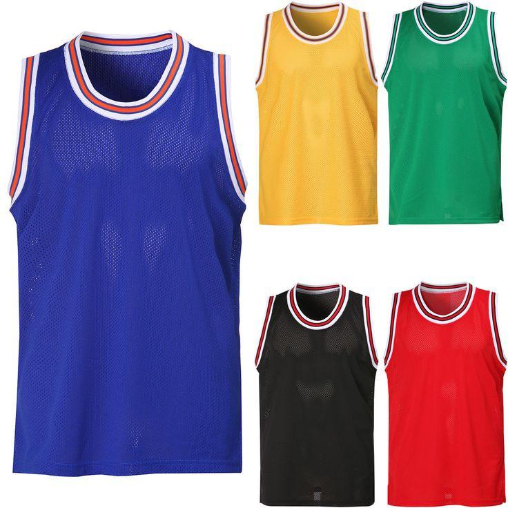 New Men's Sleeveless Mesh Basketball Team Jersey Tank Top Sports Shirt Tee Vest #hellobincom #SleevelessMeshBasketballJerseysTankTop