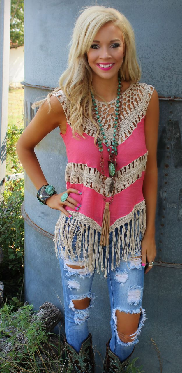Coral Conniption Fringe Tank - The Lace Cactus Enter code ASHLEYH10 at checkout for 10% off your entire order!